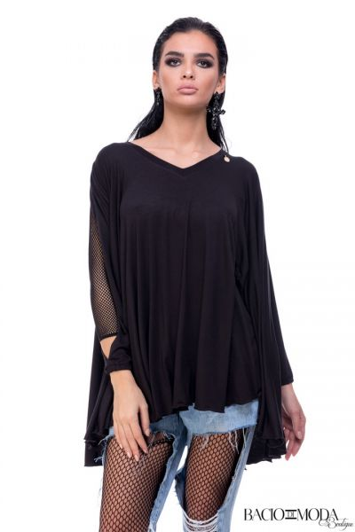 Top By Bacio Di Moda Summer COD: 1524 Bluza By Bacio Di Moda Black  COD: 1255