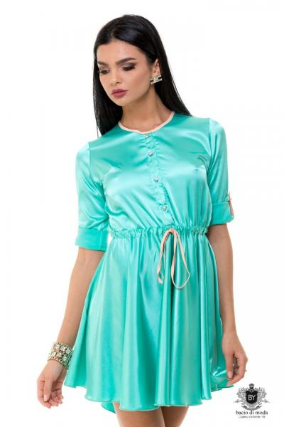 Rochie Anda Adam Collection By Bacio di Moda  - COD 0602 Rochie By Bacio Di Moda Mint Saten  COD: 1448