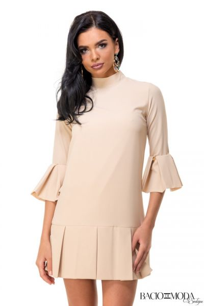 Rochie By Bacio Di Moda  Collection COD: 3057 Rochie By Bacio Di Moda Beige Folds  COD: 1507
