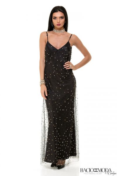 Rochie Anda Adam Collection By Bacio di Moda  - COD 0602 Rochie By Bacio Di Moda Color Beads Nero  COD: 1533