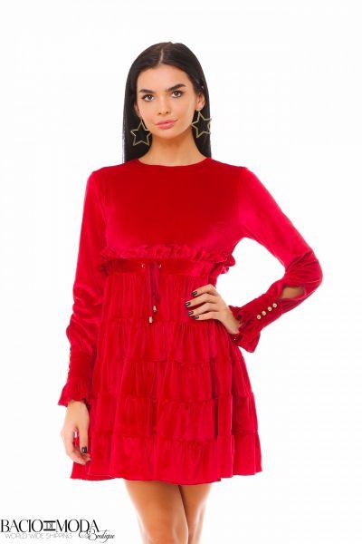 Rochie Bacio Di Moda Glam  - COD 0558 Rochie Bacio Di Moda Velure Red COD: 1927