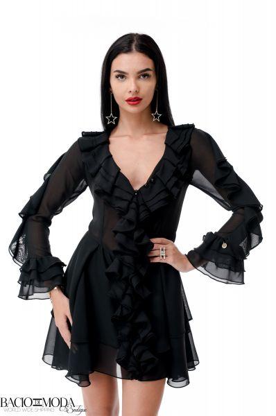 Rochie Shirt By Bacio  Rochie Bacio Di Moda  Nero Folds  COD: 1953