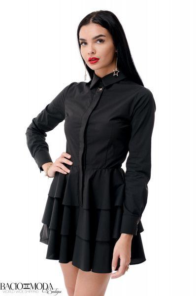 Rochie Bacio di Moda Perla  COD 0069 Rochie Bacio Di Moda  Nero Folds  COD: 1955