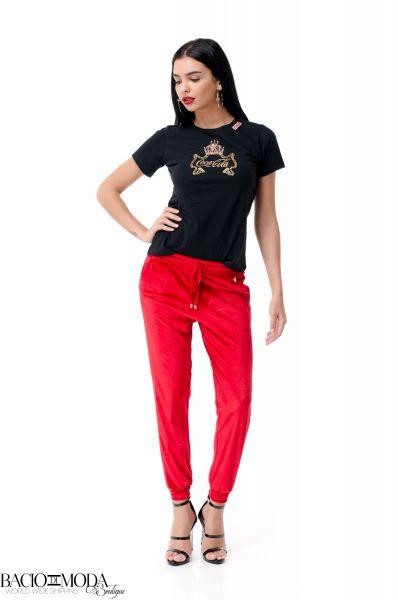 Pantaloni Bacio Di Moda Red Velure  COD: 1964