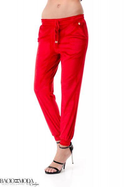 Jeans Elisabetta Franchi Collection SS '18 COD: 2711 Pantaloni Bacio Di Moda Red Velure  COD: 1964