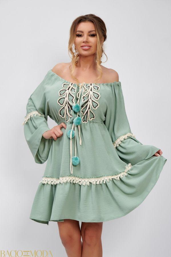 Rochie Bacio Di Moda White Folds  COD: 1636 Rochie Scurta Cu Ciucuri Isabella Muro Cod: 540372