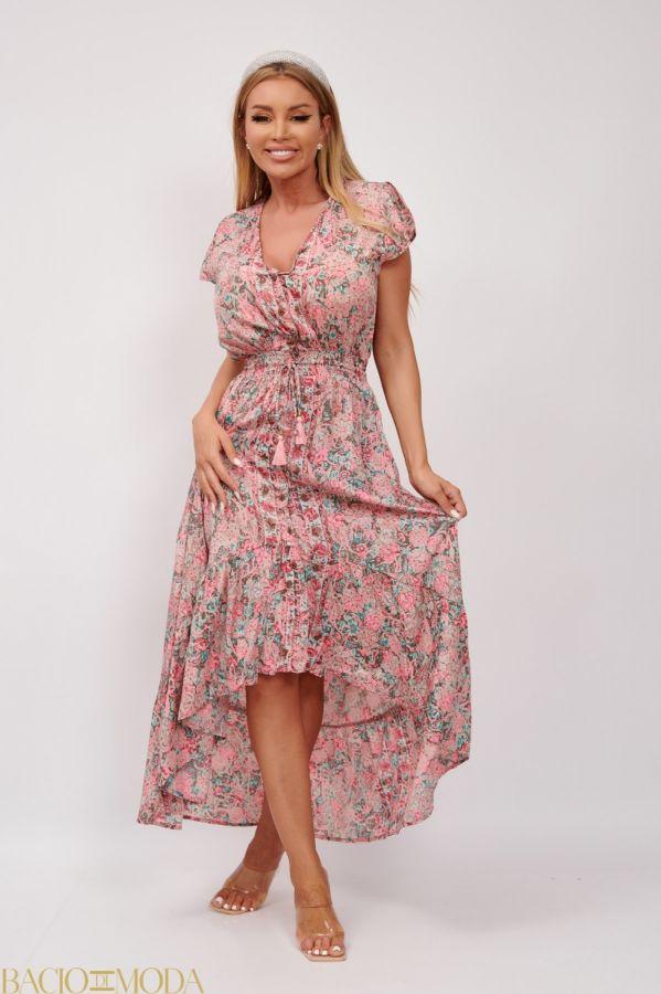 Rochie Bacio Di Moda New Collection COD: 3682 Rochie Lunga Multicolora Din Matase  Antonio Bonnati Cod: 540422