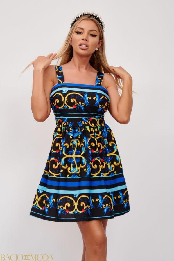 Rochie Bacio Di Moda Cod:5016 Rochie Scurta Multicolora Cu Imprimeu Antonio Bonnati Cod: 540427