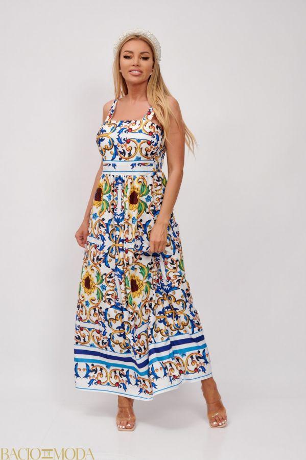 Rochie Bacio Di Moda Cod:5016 Rochie Lunga Multicolora Cu Imprimeu Antonio Bonnati Cod: 540429