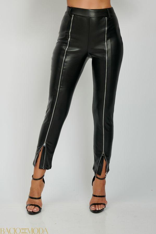 Pantaloni Bacio Di Moda Clasic  - COD 0493 Pantaloni Din Eco Piele Cu Fermoar Antonio Bonnati  Cod: 540617